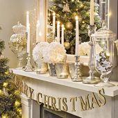 Photo of Weihnachtswohnzimmer mit silberner und goldener Mantelanzeige