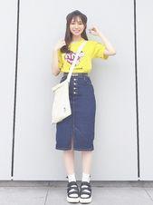 あさ Jinny Cap的貝雷帽搭配 Denim Skirt How To Wear High Waisted Skirt