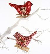 Set mit 2 Gingham Vögeln – Weihnachtsdekoration – Lifestyle Home and Living ist