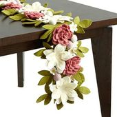 Floral Garden Felt Table Runner | floral table runner