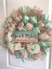 Beach Wreath-Beach House Wreath-Mint, Gold and Linen   – wreath designs
