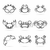Set of vector crab icons on white background
