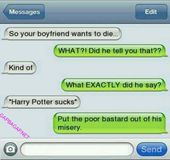 Funny Text About Boyfriend vs. Harry Potter #ad