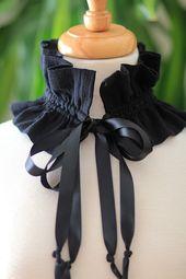 Type victorien mode Collier – ras de cou volants en gaze de coton noir – beaucoup de couleurs