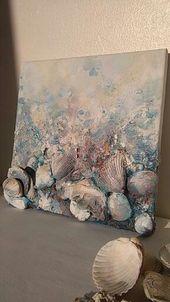 Abstract painting, beach art (10×12), Home decor, Canvas art, Original beach wall art, Mixed media art, Seashell decor, Beach, Wild seaside