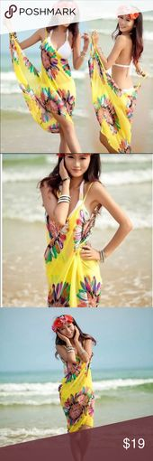 Bathing Suit Sarong Cover Up This beach dress is a sarong or Pareo wrap that is …
