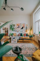 Mid-century boho interior with a gallery wall – #B…