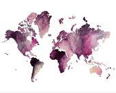 Digital Print of World Map, Hand drawn/watercolor … – #Digital #drawnwatercolo…