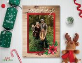 Photo Christmas Card – 5×7 – Custom Custom Photo Christmas Card – Season Greetings Card – Merry Christmas Card – So Very Merry – Rustic