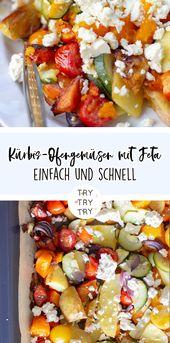 Verduras al horno de calabaza con queso feta   – Weihnachtsbloggerei