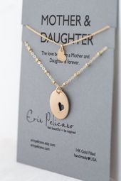 Mother Daughter Necklace Set Gold Mothers Necklace Mother of the Bride Gift Mom and Me Jewelry Gold Heart Necklace