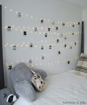 Tween Teen Fairy Light Photo Display Wall. Hang extra long fairy lights and phot…