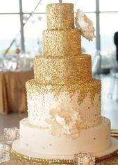 Goldhochzeitstorte 12 beste Fotos – Hochzeitstorten – cuteweddingideas.com   – Wedding cakes