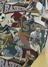 Futon Cover In Sport Playoffs Fabric Is A Theme Pattern Slipcover Great Patterns Pinterest Covers