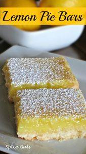 Diese Lemon Pie Bars sind köstlich !! Dieses Rezept ist einfach und leicht zu machen! So M…