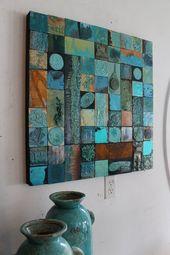 Sacred Skystone ist 27 ins sq. Orig. glasierte skulpturale Holzcollage Kunst von Lori Daniels. Boho Highway 66 Southwest Venice Beach Kalifornien