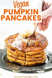 Ridiculously thick and fluffy, lightly spiced Vegan Pumpkin Pancakes. Satisfying…