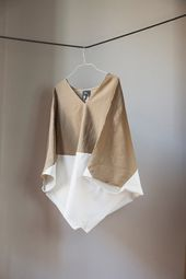 Two Tone Loose Fitting Organic Linen Cotton Top. Beige and Muslin White Colours,…