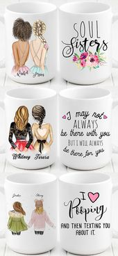 Personalized best friends mug for this Christmas. Friendship gift.