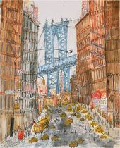 MANHATTAN BRIDGE New York Bridge Dumbo City Art, Signed Limited Edition, NYC Giclee Print, Watercolor Painting, Taxi Drawing Clare Caulfield   – ART…The Creative Soul