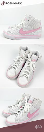 Nike High Top White Sneakers Pink Swoosh Size is conversion of 6.5Y nike standar…