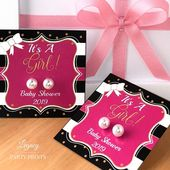 It's A Girl Pink & Black Baby Shower Favors With White Pearl Earrings | Legacy Party Prints
