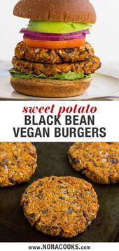 Easy Sweet Potato Black Bean Burgers: Smoky and sweet, only 7 ingredients! #vega…