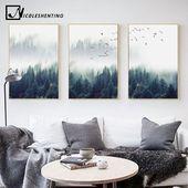 Günstige Nordic Dekoration Wald Lanscape Wandkunst Leinwand Poster und Print Le
