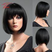 ZNL Damen Perücke Wigs wie Echthaar Haarteile Glatt Kurz 4 Farbe Cosplay Kostüm…