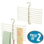 mDesign Hanging – Accessory and Scarf Holder, Closet Organizer, Pearl White, 16″ x .5″ x 13″, Pack of 2