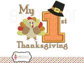 Erstes Thanksgiving-Stickmuster. Thanksgiving-Applikation und gefüllte Stickerei. Babys erste Stickerei   – Products