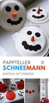 Weihnachtsdeko basteln mit Kindern: Schneemann Pappteller Girlande