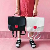 Harajuku Ulzzang Love Heart Women's Backpack in Black White and Black sold by KoKo Fashion. Shop more products from KoKo Fashion on Storenvy, the ...