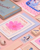 Illustrator Business Card Cosmos vintage seed pack card risograph-print by Cabin Journal