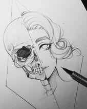 Dies ist eine interessante Zeichnung, aber der Schädel ist sehr falsch. Ich würde gerne mal versuchen