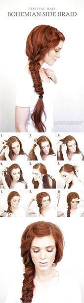 Best Hair Braiding Tutorials Bohemian Side Braid Festival Hair Tutorial Simple # …, #be …