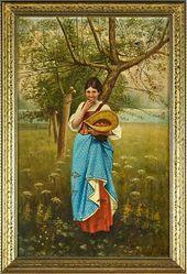 Mädchen unter einem Apfelbaum von Max Nonnenbruch   – Art by German artists