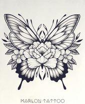 Hmm … ich mag normalerweise keine Schmetterlinge. Aber das gefällt mir. #flowertattoos