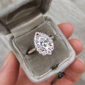 ・ CELESTE ・ Pear Moissanite Center, Diamond Halo (2.58ctw +)   – Wedding