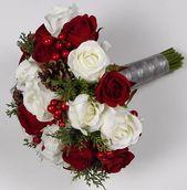 Weihnachtshochzeitsstrauß Weihnachtsbrautstrauß Roter Hochzeitsstrauß Landhochzeit Brautstrauß Winterstrauß Hochzeit   – Idee Matrimonio
