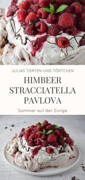 """Himbeer Stracciatella Pavlova Luftige lässige Pavlova, ein Klassiker aus Neuseeland …   – """"Pavlova"""" Sahne -Baiser Rezepte"""