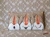 Handbemalte Schneemann Weihnachten Urlaub handgefertigte Kissen decken Winter Home Dekor innen rustikale Schnee Sackleinen