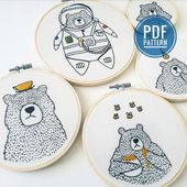 Little Bear Family Pattern Bundle / Beginner and Advanced – 10 Patterns / PDF Digital Instant Download / Embroidery Tutorial