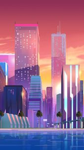 Colorful city wallpaper