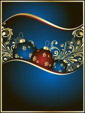 Photo of Weihnachtshintergrund Blau und Gold