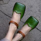 Sommer handgemachte Leder Karree Frauen Sandalen flachen Mund echtes Leder flache Frauen Schu…