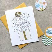 Custom Birthday Card / Illustrated Birthday Present / Hand Lettered Birthday Greeting Card / Birthd