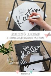 DIY and decoration ideas for weddings with IKEA: seating arrangements, table numbers and letters box # three times // advertising