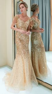 Tassel Cap Sleeves Mermaid Gold Formal Evening Gown with Sequins