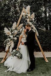 Bohemian Sage Green Wedding with Pampas Grass Details #hayleypaigeweddingdresses…